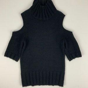 Express Black Cold Shoulder Turtleneck Sweater